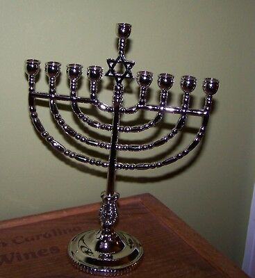 Rite Lite Chanukah Traditional Menorah-Polished Silver Tone Non - Traditional Menorah