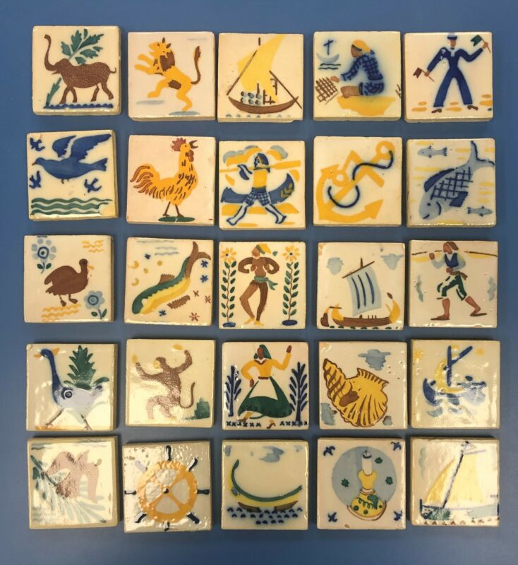 "VINTAGE LAMEGO HAND-PAINTED GLAZED CERAMIC TILES, 2.5"" X 2.5"" ASSORTED, PORTUGAL"