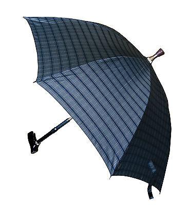 Gehstock mit Schirm mit integriertem Gehstock + Schutzhülle, grau-kariert