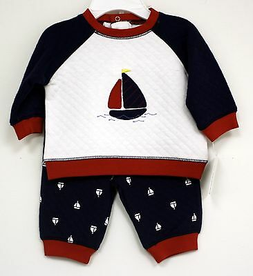 Little Me Outfit Sailboat White Red Blue 2 pc pants shirt New Infant