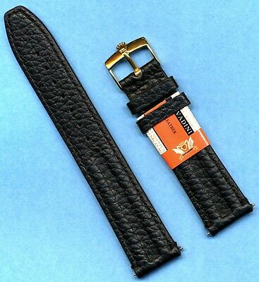 GENUINE BLACK LEATHER CAVADINI STRAP BAND 18mm or 20mm & ROLEX GOLD PLATE BUCKLE Leather Watch Strap Plated Buckle