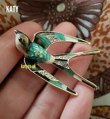 Gold Tone Bird Swallow Enamel Brooch Broach Diamante Pin Vintage Style  Crystal