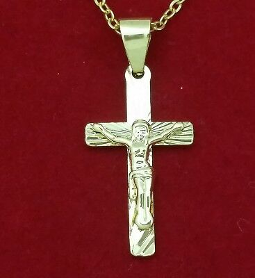 14k Gold Filled Jesus Crucifix Cross Charm Pendant CubanChain Necklace Christian 14k Gold Filled Crucifix Necklace