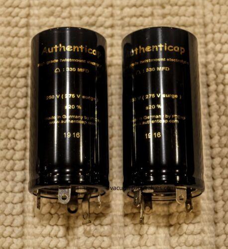 PAIR TWO 330 UF MFD 250V Twist Lock Capacitor Authenticap KTL33 MC225 MC240  AMP