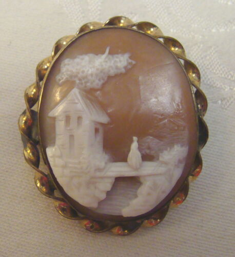 Antique Carved Shell Cameo Brooch, Lady on Bridge, House
