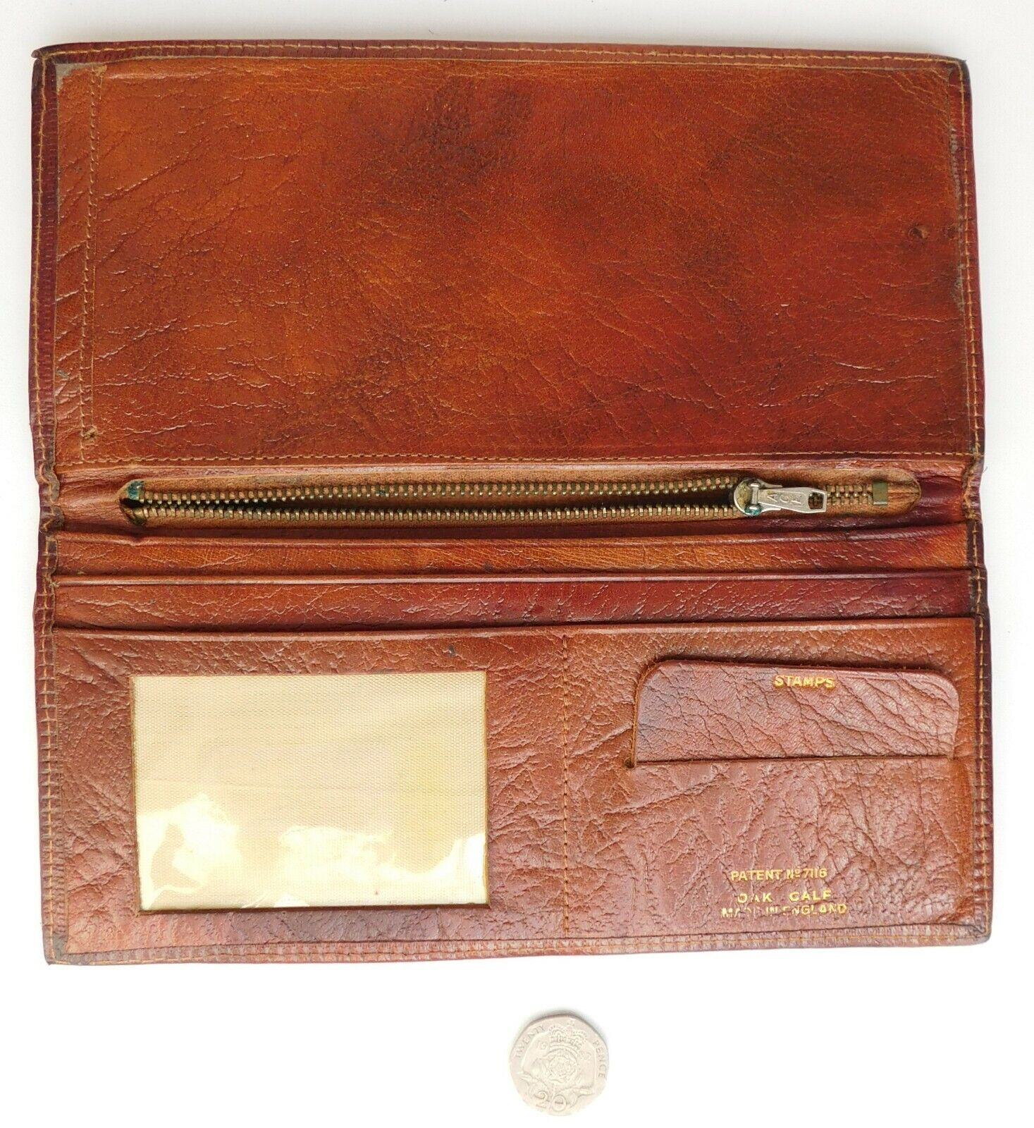 Vintage oak calf leather wallet with holders for postage stamps and cheque book