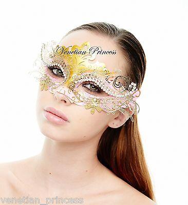 Elegant Pink Gold Laser Cut Venetian Mardi Gras Masquerade Mask MEP001PKGD NEW