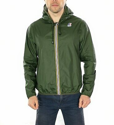 Men's K-Way Waterproof Rain jacket With Hood In Green Size Medium