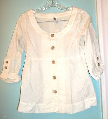Sz XS - Old Navy White Baby Doll Top w/Scoop Neckline & Button Up Sleeves Scoop Baby Doll