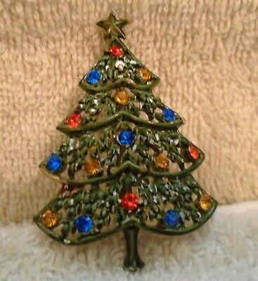 Vintage Charcoal Gray Gold Tone Rhinestone Christmas Tree Pin Brooch 2 1/4 Inch