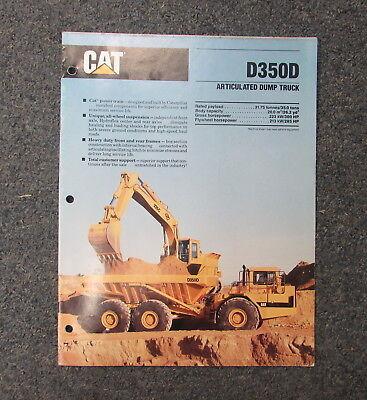 Cat Caterpillar D350d Articulated Dump Truck Dealers Brochure Manual 1989