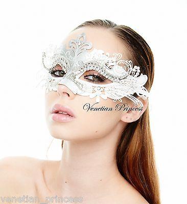 Elegant White Silver Laser Cut Venetian Mardi Gras Masquerade Mask MEP001WHSL