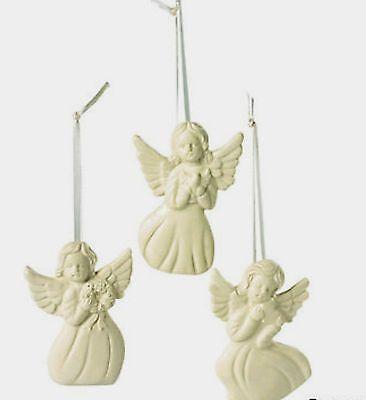 Set of 12 Jade Porcelain Angel Christmas Tree Ornaments