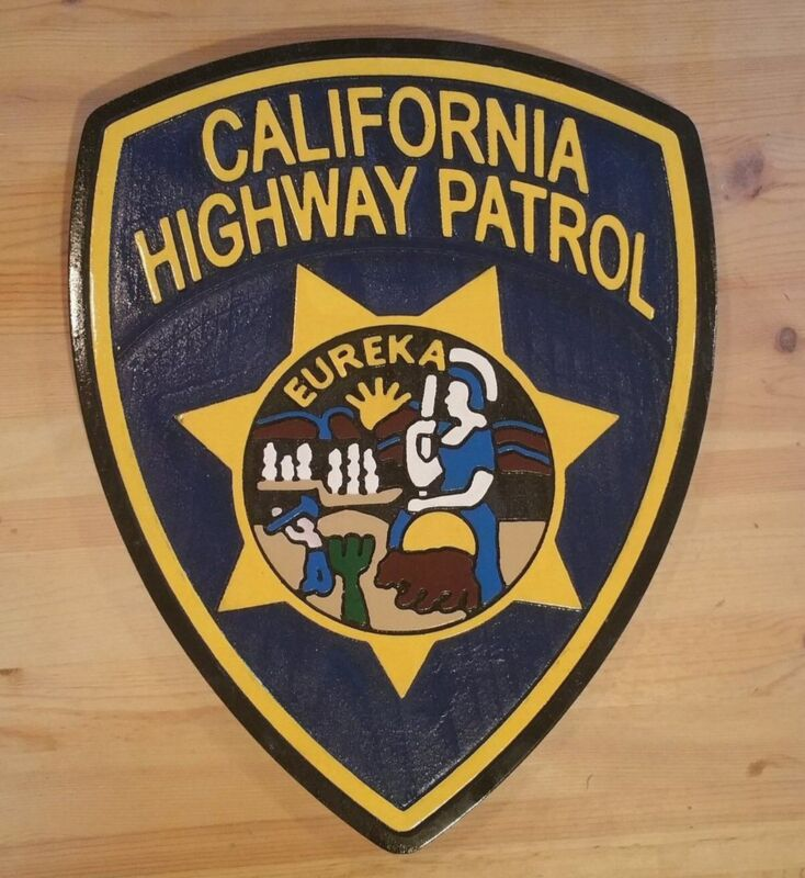 California Highway Patrol 3D routed carved wood patch plaque Sign Custom Carved