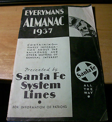 Vintage 1937 Everyman's Almanac presented by Santa Fe System Lines