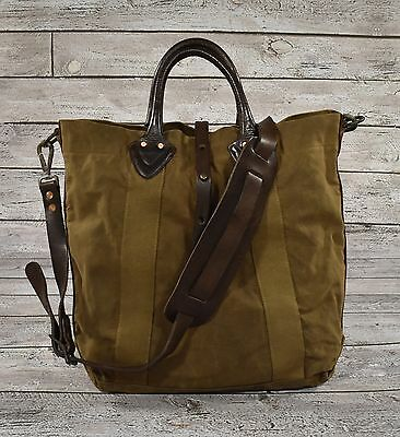 Ralph Lauren RRL Distressed Washed Canvas Leather Tote Bag New