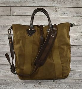 5fbe496ef1 Ralph Lauren RRL Distressed Washed Canvas Leather Tote Bag New