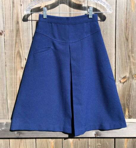 Vintage 80s 90s Aileen Teen Blue Pleated A-Line Skirt Girls Sz 8