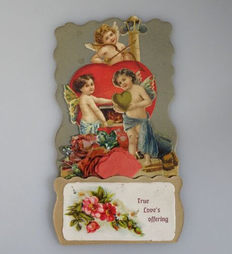 Victorian Angels & Die Cut Cupid Valentine, Fold Out, Germany, Antique  -54924