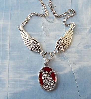 St. Saint MICHAEL Archangel Medal NECKLACE Pendant Angel Double Wing Protection