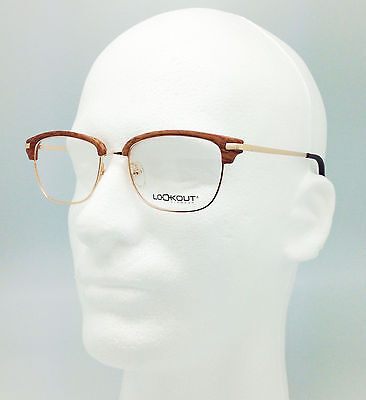 CLUBMASTER EYEGLASSES FRAME gold brown wood LOOKOUT NEW retro classic unisex c3