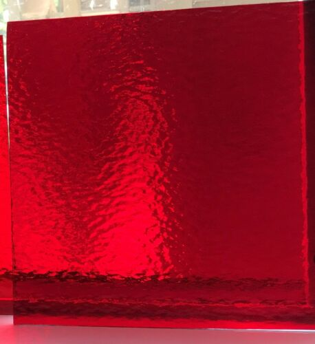 (2 pack) 6 x 8 inch Stained Glass Sheets transparent RUBY RED 152 rough rolled
