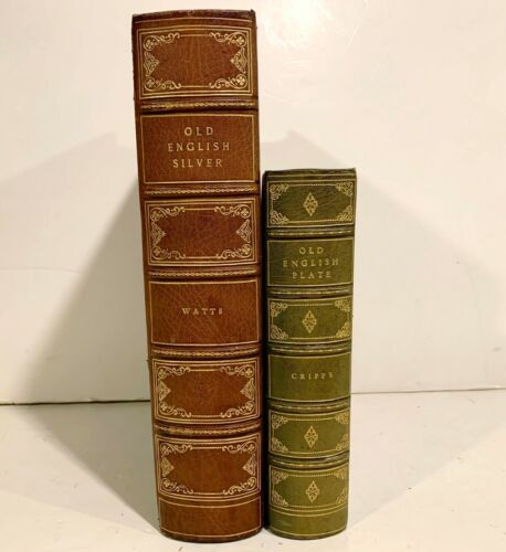 2 Antique LEATHERBOUND BOOKS Watts Old English Silver & Cripps Old English Plate