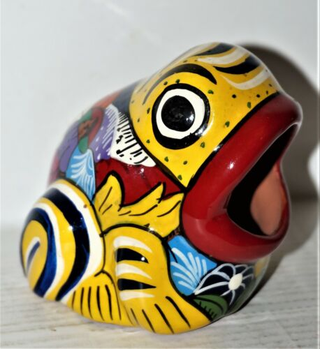 Talavera Multi-Colored Ceramic Frog w/ open mouth (ashtray?)