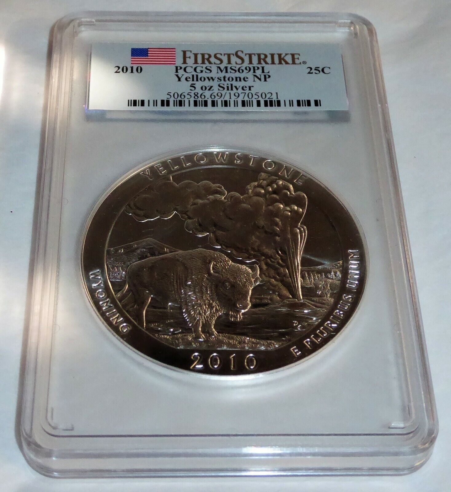 2010 Yellowstone NP 5 oz Silver First Strike 25C PCGS MS69PL Coin Currency💎