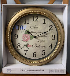 12 Inspirational Wall Clock Roses All Things Are Possible If You Believe