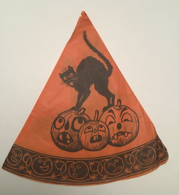 Vintage Halloween Paper Party Hat Witch Black Cat JOL Germany
