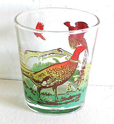 Rocks Cocktail Glass Game Bird Flying Pheasants Barware Vintage FREE SH