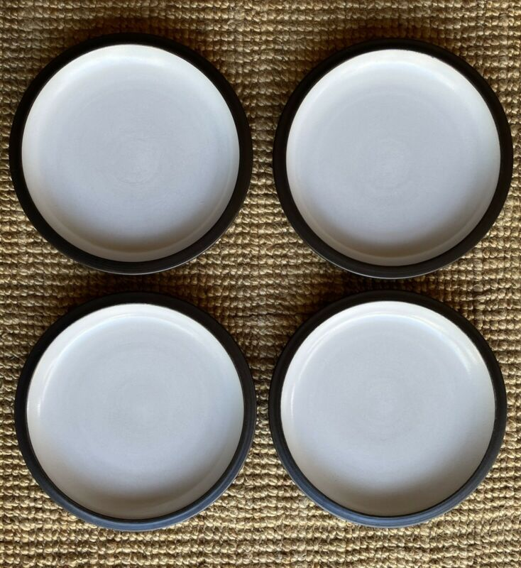 "Vintage 4 Heath Ceramic Rim Shape 11.25"" White Brown Dinner Plate California Mod"