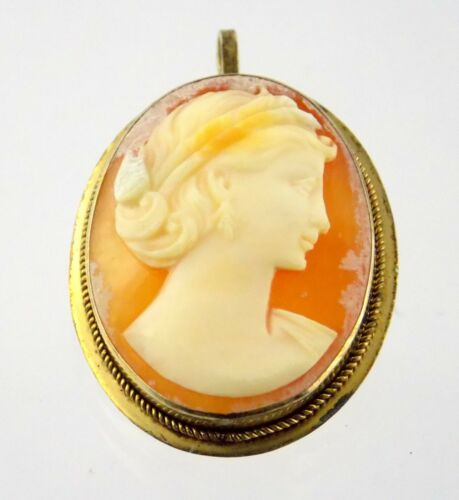 Vintage Gilded 900 Content Silver Carved Cameo Shell Pin Woman Pendant AS IS