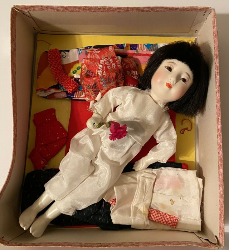"Vintage NISHI Doll Japanese Ichimatsu Gofun Multi Jointed 13"" w/Wardrobe & Box"