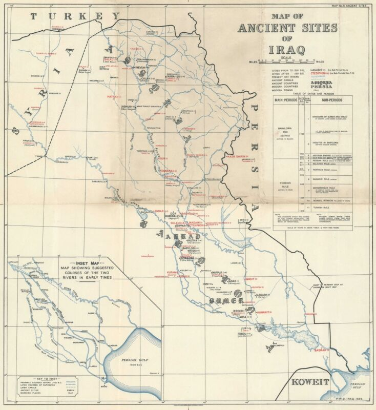 1929 Waterlow and Sons Map of the Ancient Sites of Iraq