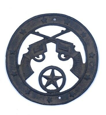 Texas Star Pistols Wall Plaque Cast Iron Western Home Metal Decor Decoration  - Western Star Decor