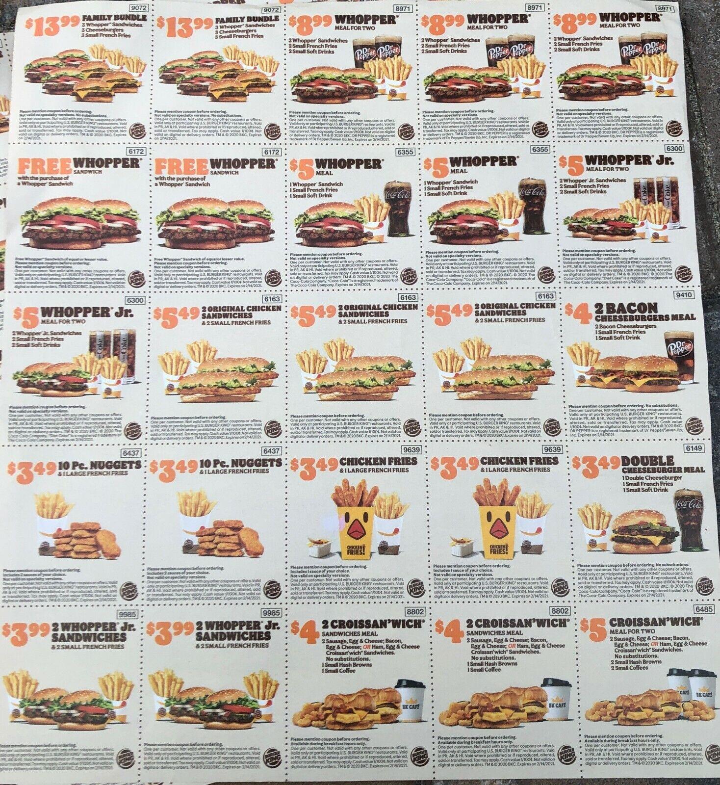 2 Sheets Burger King Coupons Expire 2/14/21 - $2.00