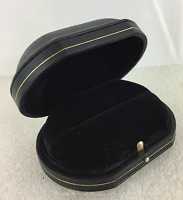 Faux Leather Engagement Wedding Ring Gift Box Jewelry Storage Case - Black