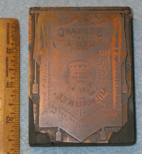MILWAUKEE WI Antique MODERN WOODMEN AMERICA BANNER Copper Printing Block * BR153