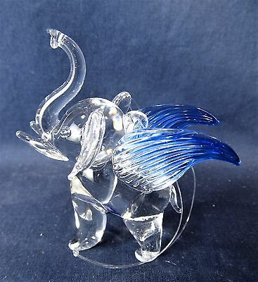 Elephant w/ Blue wings Hand Made Glass Ornament Figurine (C)