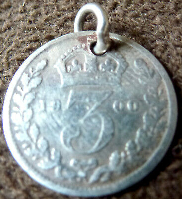 Artisan Late Victorian 1900 Silver Threepence Coin Charm (06)