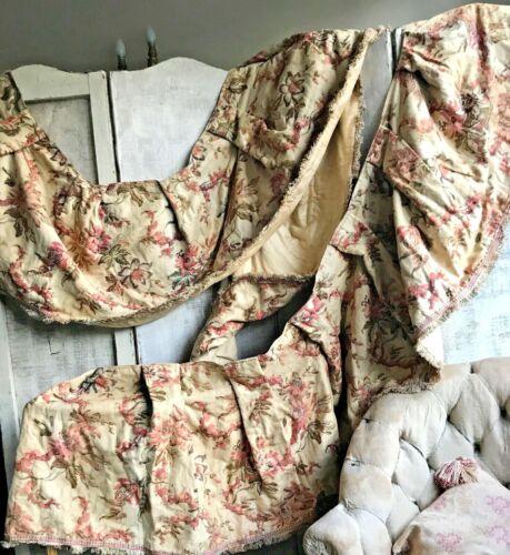 Antique Pelmet Valance Floral French Fabric Panel Vintage Chateau Textile /17ft