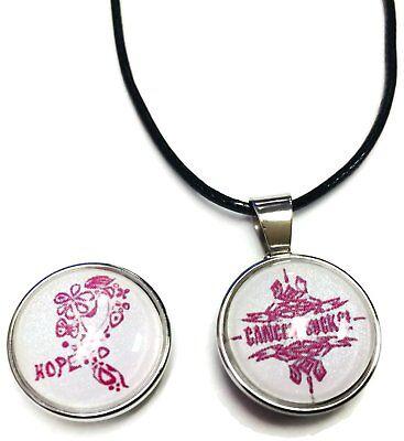 Cancer Sucks Tribal Hope Pink Ribbon Breast Cancer Awareness Support Cure Pendan - Cancer Sucks Bracelets