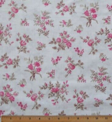 English Rose Floral Fabric By Yards 100% Cotton Pink on Cream Penny Lane