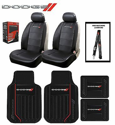 8 PC Dodge Elite Seat Covers Leather & Front & Rear Rubber Floor Mats Fast Ship
