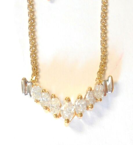 "14K Yellow Gold Marquise Diamonds Stationary V Chevron Pendant Necklace 16.5"""