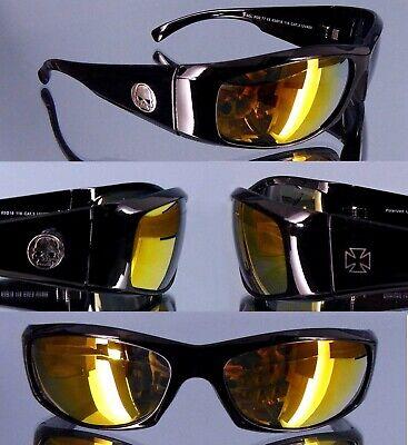 Bikerbrille Skull und Kreuz Symbol schwarz 400UV Glas goldgelb Biker Brille