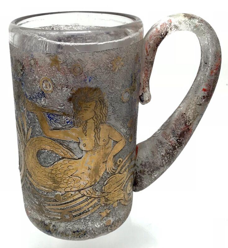 "RARE 18th Century "" Mermaid "" Jug Gilt Glass Hand-engraved"
