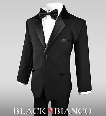 Boys Black Tuxedo for Kids of All Ages Formal Wear With  Black Bow Tie  - Black Boys Suits